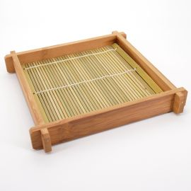 rectangular wooden plate tray with mat for Japanese soba udon noodles