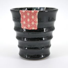 japanese black teacup blue red sashiko patterns KURO UWAGUSURI ASANOHA