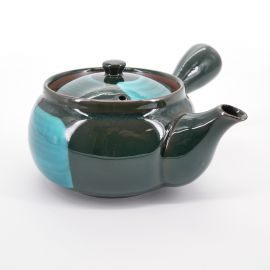 japanese ceramic black teapot with turquois brush SHIN AO UWAGUSURI