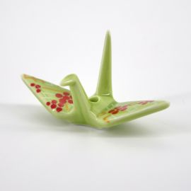 Japanese incense holder crane color choice in ceramic