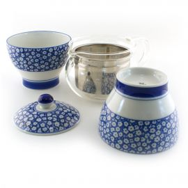 Japanese glass teapot with filter and 2 blue ceramic cups