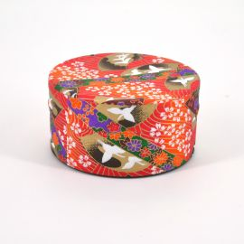 Japanese tea box washi paper flat 40g orange TSURU
