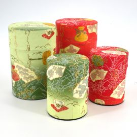 Japanese tea box washi paper 40g 100g green orange choice MATSU