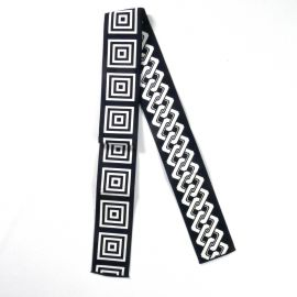 Japanese black or blue reversible square chain obi sash BANTENOBI