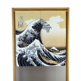 blue japanese noren curtain in polyester, SHIRANAMI, wave