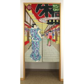 red japanese noren curtain in polyester, ASAKUSA, district