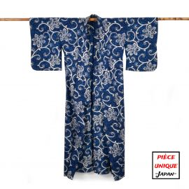 Japanese vintage kimono For Women HANA KARAKUSA blue