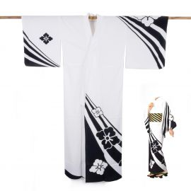 Japanese cotton prestige yukata for women KUROSHIBORI white