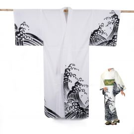 Japanese cotton prestige yukata for women KURONAMI white