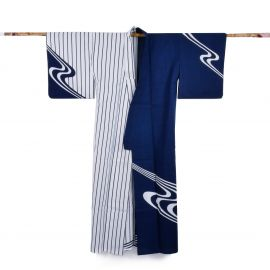 Japanese cotton prestige yukata for women SHIMA blue