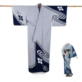 Japanese cotton prestige yukata for women HANASHIBORI blue