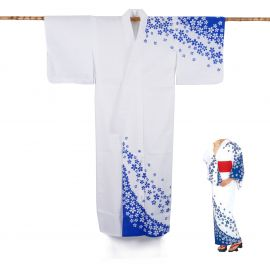 Japanese cotton prestige yukata for women SAKURA blue
