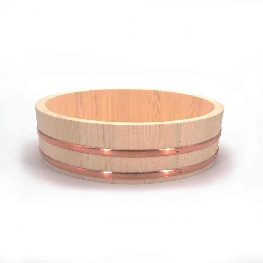 natural japanese rice platter in wood Ø27cm HANGIRI