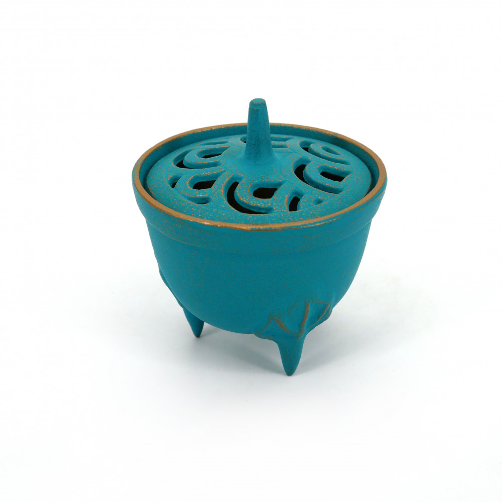Japanese cast iron incense burner, IWACHU NAMI, blue wave