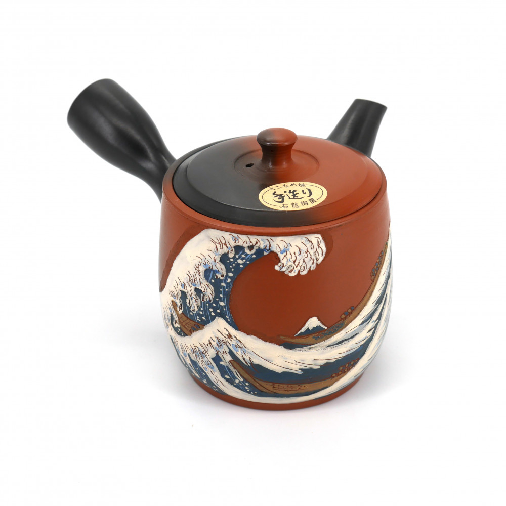 japanese red teapot kyusu tokoname wave SHIRYU