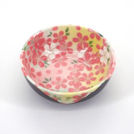Japanese ceramic yellow rice bowl, HANAKINCHAKU, sakura flowers