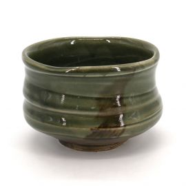 Japanese tea bowl for ceremony - chawan, SOUMA, green
