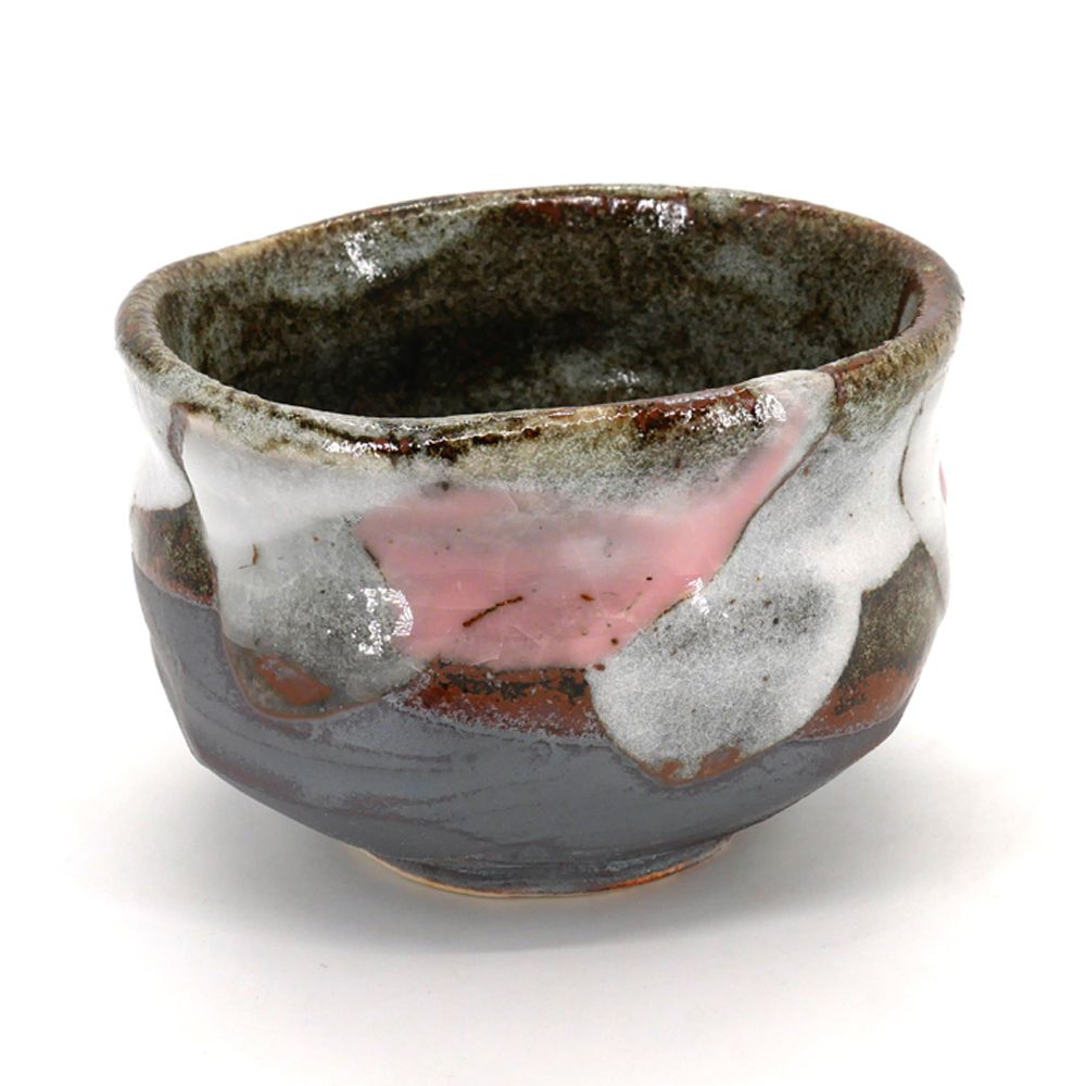 Japanese tea bowl for ceremony - chawan, SEIJI, grey pink white