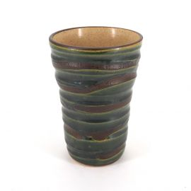 Japanese 12.7cm green tall teacup ORIBE in ceramic, lines