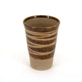 Japanese 11cm brown tall teacup CHA in ceramic, lines
