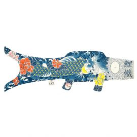 dark blue koi carp-shaped windsock KOINOBORI TATTOO KOI