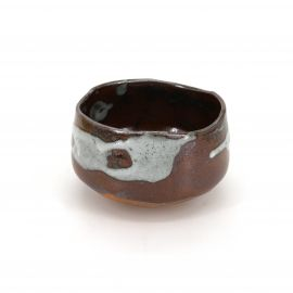 Japanese red tea bowl for ceremony, SHINO, brown
