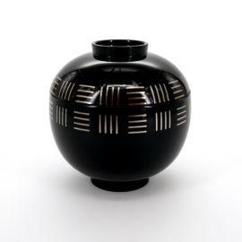 black japanese soup bowl with a lid lines SOROI