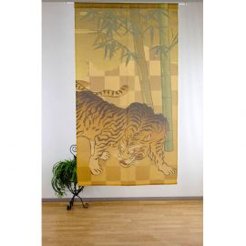japanese noren curtain in polyester, BAMBOO TIGER, golden and green
