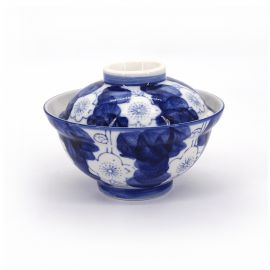 Japanese blue ceramic bowl with lid, UME, flowers