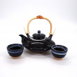 sake service 1 sake pot and 2 cups, MOKUNAGA, black end blue