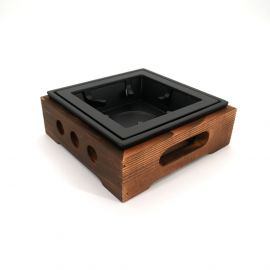 Brown square cast iron and wood teapot heater L16,5cm