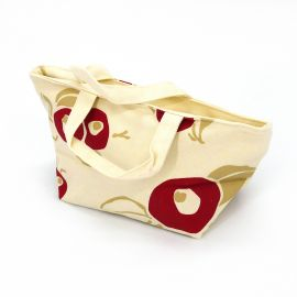 Japanese white cotton bag, 29.5x15.5cm red flowers