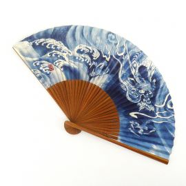 japanese blue fan 22cm for man in paper and bamboo, RYÛ, dragon