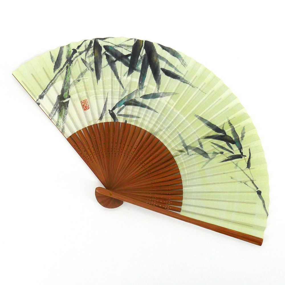 japanese green fan 22cm for man in paper and bamboo, TAKE, bamboo