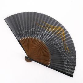 japanese blue fan 22cm for man in paper and bamboo, FUJISAN, mountain