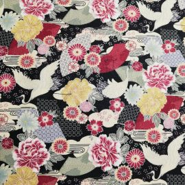 Black Japanese cotton fabric crane and flowers made in Japan width 110 cm x 1m