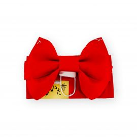 traditional japanese child's belt and knot, MUSUBI-OBI, red