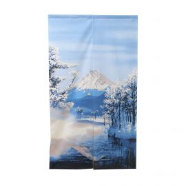 NOREN Japanese curtain, Mount Fuji landscape and snow.