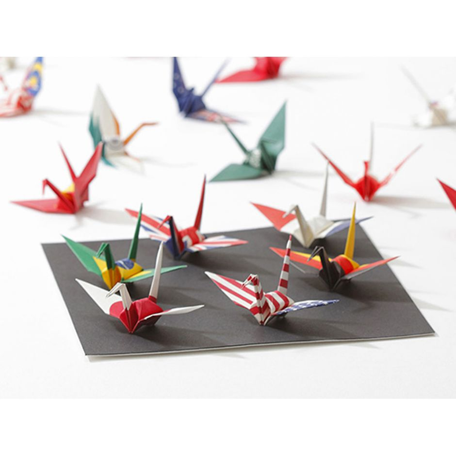 set of 48 sheets of Japanese paper, origami crane, world flags