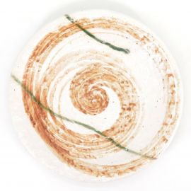 japanese white and orange round plate in ceramic, HISUI, whirlpool
