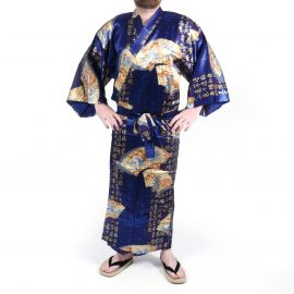 Japanese traditional blue kimono in silk gold folding fans for men