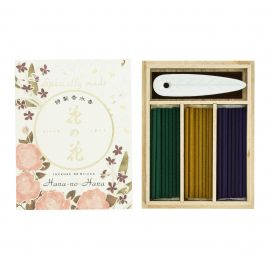 Wooden case with 30 sticks and incense holder, HANA NO HANA EXCELLENT, Rose, Lys and Violet