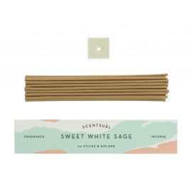 Box of 30 incense sticks with incense holder, SCENTSUAL SWEET WHITE SAGE, White sage