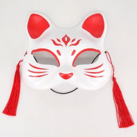 Japanese red and white cat mask