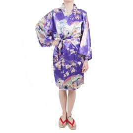 hanten traditional japanese purple kimono in polyester dynasty under the cherry blossom for women