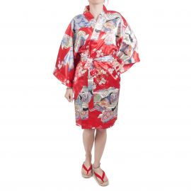 hanten traditional japanese red kimono in polyester dynasty under the cherry blossoms for women