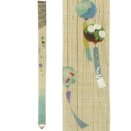 Fine Japanese tapestry in hemp, hand painted, FURIN, Carillon
