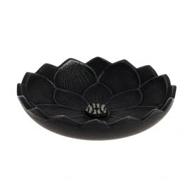 Japanese black cast iron incense burner, IWACHU LOTUS, lotus flower