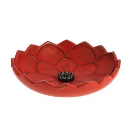 Japanese red cast iron incense burner, IWACHU LOTUS, lotus flower