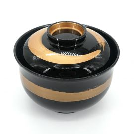 Lacquered miso soup bowl with golden paintbrush lid, KINFUDE, black